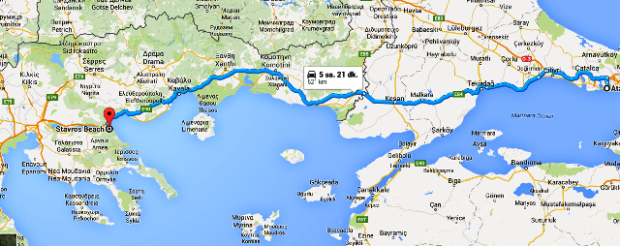 kalkış  Atatürk Havalimanı varış  Stavros Beach  Stavros  Yunanistan   Google Haritalar