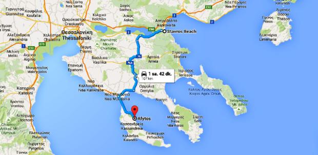 kalkış  Stavros Beach  Stavros  Yunanistan varış  Afytos  Yunanistan   Google Haritalar